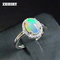 ZHHIRY Women Natural Opal Stone Ring Genuine Solid Silver Gems Jewelry Rings