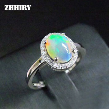 Natural Opal Stone Ring Genuine Solid Silver Gems Jewelry Rings