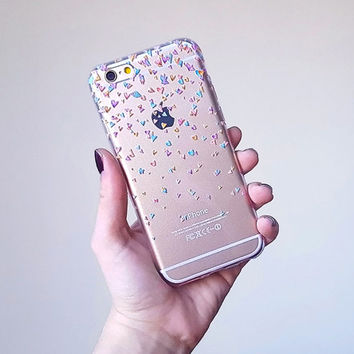 Confetti Hearts Clear iPhone Case, cute iphone 6 case, colorful galaxy s6 case, iphone 6 plus case clear, transparent silicone iphone cover