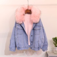 Winter new arrive big  fur collar loose  hood long sleeve fleece denim jacket, winter outerwear