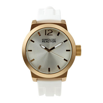 Kenneth Cole Reaction Men's Watch Gold Tone Case White Silicone Strap RK2229
