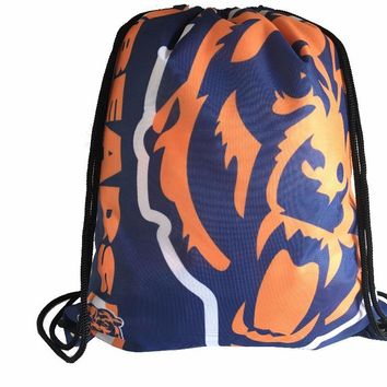 Chicago Bears Drawstring Backpack Digital Printing Knitted Polyester Sports Backpack