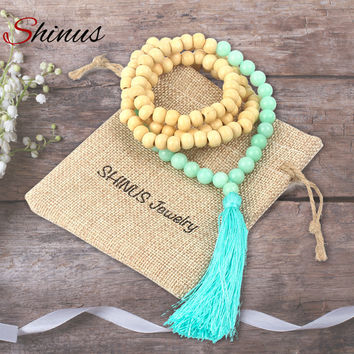 Shinus Necklace Maxi Women Colar Statement Vintage 2017 Long Necklaces Pendant Tassel Collier Mala Stone Wooden Bead Jewelry