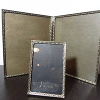 Vintage Double Bi-fold 8 x 10 Pitcher Frame and Matching 5 x 7 Frame - Brass or Gold Tone Frames with Diamond Design - Hollywood Regency