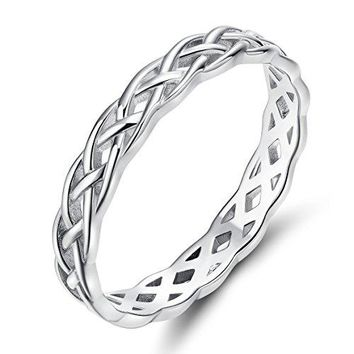 SOMEN TUNGSTEN 925 Sterling Silver Ring 4mm Eternity Knot Wedding Band for Women Size 411