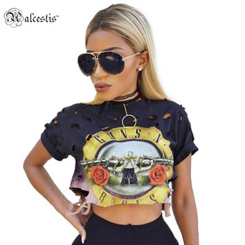 Women Cotton Guns And Roses Print holes Crop Top