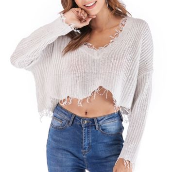 Fashion New Autumn And Winter Long Sleeve Sweater White