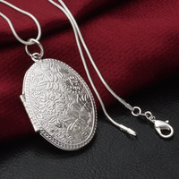 2016 New Fashion Vintage Photo Locket Pendant Necklace Gold/Sliver Plated Jewelry Necklaces & Pendants Women Gift Free Shipping