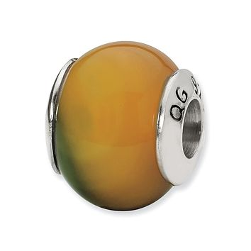 Yellow-Green Agate Stone Bead & Sterling Silver Charm, 13mm