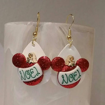 Guitar Pick Jewelry by Betsy's Jewelry - Earrings - Christmas Mickey Mouse Style - Disney Characters