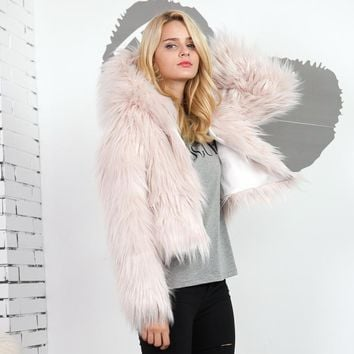 Hooded Shaggy Faux Fur Coat