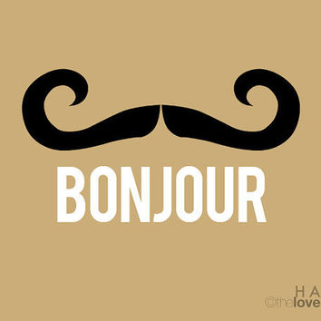 BONJOUR LE MOUSTACHE Deluxe Print in Natural and by theloveshop