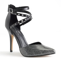 Rock & Republic Black Studded Ankle Strap High Heels - Women