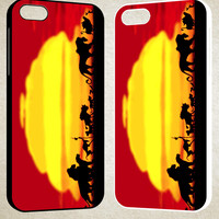 Lion King Silhouette F0196 iPhone 4S 5S 5C 6 6Plus, iPod 4 5, LG G2 G3, Sony Z2 Case