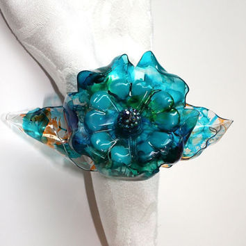 Tiffany Blue Wedding Napkin Ring Set, peacock blue and green, orange teal leaves,  home decor, decorations, flower, upcycled water bottle