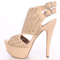 (anm) Nude Perforated Peep Toe Booties Faux Leather