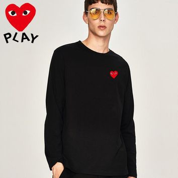new comme des garcons mens long sleeve hoodie 100 cotton top