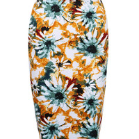 Yellow Floral Print Split Back Pencil Skirt