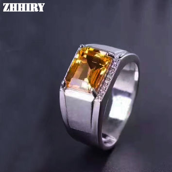 Men Rings Genuine Natural Citrine Gem Man Real 925 Sterling Silver Yellow crystal Gemstone Fine Jewelry