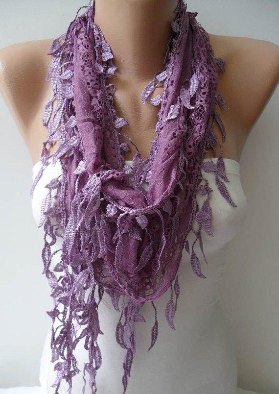 Lilac Laced Scarf with Trim Edge -- Speacial Laced Fabric