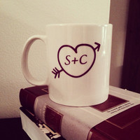 Personalized heart and initial coffee mug