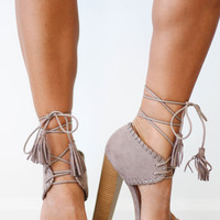 Taupe Lace Up Heel With Tassel Ties