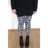 Stylish Women's High Waist Geometrical Print Christmas Leggings