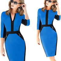 Blue Contrast V-Neck Zipper Detail Pencil Midi Dress