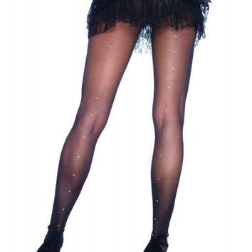 Sheer Pantyhose with Rhinestone Backseam in OSXL
