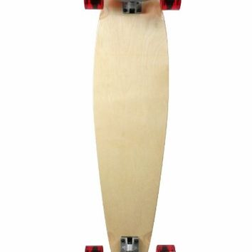 "SCSK8 Natural Blank & Stained Complete Longboard Pintail Skateboard (Natural, 44"" x 10"")"