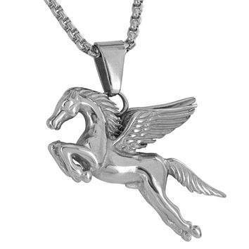 Flying Horse Pendant Pegasus White Solid Stainless Steel Free Necklace Charm New