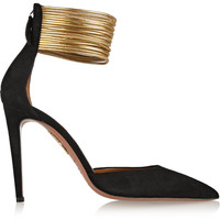 Aquazzura - Hello Lover cord-trimmed suede pumps