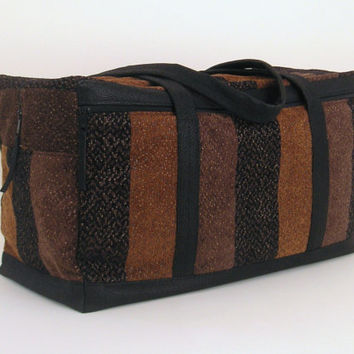 Limited Edition Luxe Fabric Weekender/Carry On Bag in Woven Stripe Black/Browns