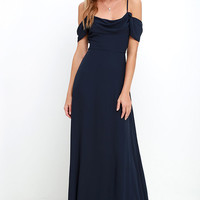Reflective Radiance Navy Blue Maxi Dress