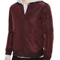 The Idle Man Poly Bomber Jacket Burgundy