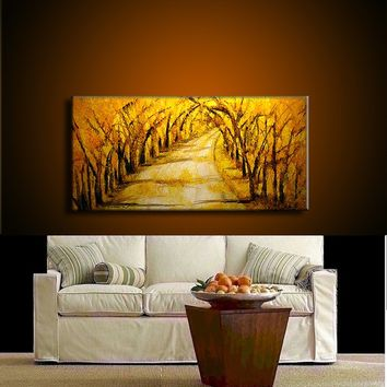 Original  Abstract Landscape Painting, Modern Tree Pathway  Painting , Autumn Color painting by Henry Parsinia Large 48x24