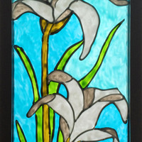 White flower painting, stained glass look