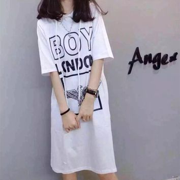"""Boy London"" Women Casual Fashion Eagle Letter Pattern Print Short Sleeve Hooded Dress"