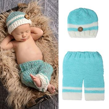 Baby Photography Props Newborn Infant Crochet Knit Hat Beanie Pants Photo  Props Costume