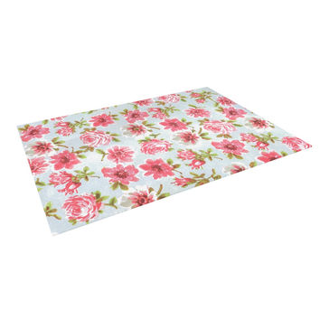 "Heidi Jennings ""Petals Forever"" Blue Pink Indoor / Outdoor Floor Mat"