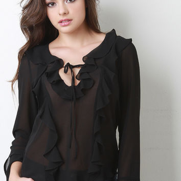 Chiffon Cascade Ruffle Long Sleeve Blouse Top