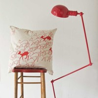 Cushion cover 60x60cm - Duikers, in aloe red