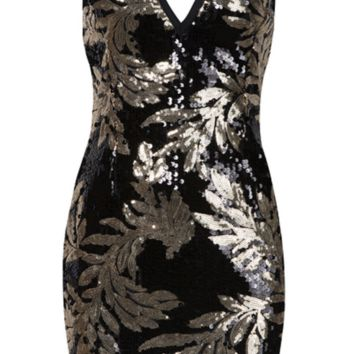'Settania' Sequined Mini Dress - Black and Gold