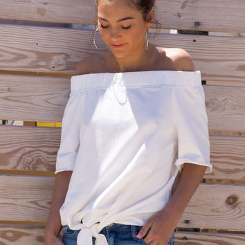 Grace Off The Shoulder Front Tie Top