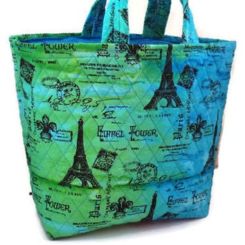 Large tote bag, quilted Eiffel Tower Paris fabric tote, green and blue quilted purse, oversized handbag for women, gift for her, tote bag