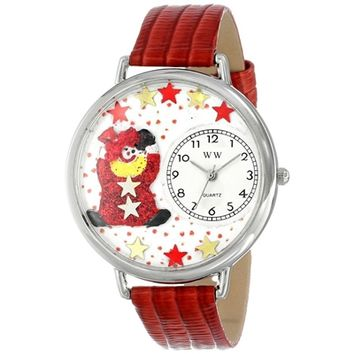 SheilaShrubs.com: Unisex Red Star Clown Red Leather Watch U-0210008 by Whimsical Watches: Watches