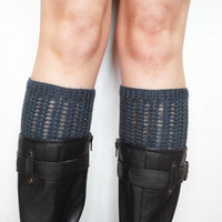 Merino Wool Lacy Boot Cuffs in Navy, ready to ship.