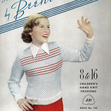 Hand Knits by Beehive Knitting Sewing Pattern Booklet Instructions Boys Girls Sweaters Vintage 1950s Fashion
