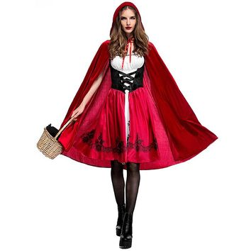 XS - 3XL Halloween Little Red Riding Hood Costume Adult Cosplay Costume Party Dress Red Hat Night Club Queen Costume L1872752