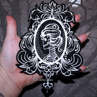 Skeleton Cameo Black White Damask Iron On Embroidery Patch MTCoffinz